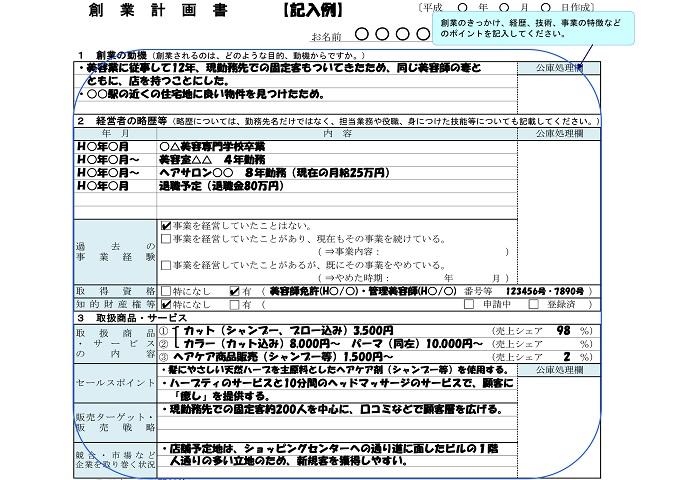 金融 公庫 計画 創業 書 政策 日本